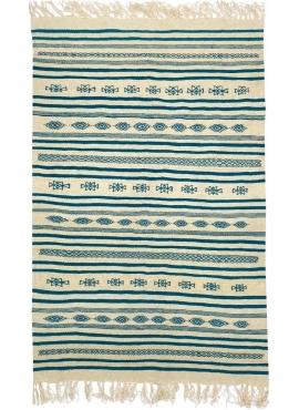 tappeto berbero Tappeto Kilim lungo Massoud 70x180 Beige Blu (Fatto a mano, Lana, Tunisia) Tappeto kilim tunisino, in stile maro