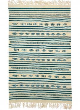 Berber Teppich Teppich Kelim lang Esesnou 114x186 cm Beige Blau (Handgewebt, Wolle, Tunesien) Tunesischer Kelim-Teppich im marok
