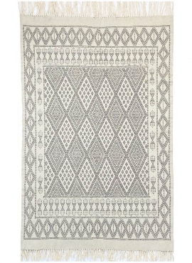 Berber carpet Rug Margoum Zembra 120x190 White/Grey (Handmade, Wool, Tunisia) Tunisian margoum rug from the city of Kairouan. Re