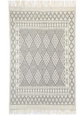 Tapete berbere Tapete Margoum Maadan 120x190 Branco/Cinzento (Artesanal, Lã, Tunísia) Tapete Margoum tunisino da cidade de Kairo