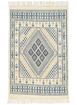Berber carpet Rug Margoum Mouja 129x196 cm Blue/White (Handmade, Wool, Tunisia) Tunisian margoum rug from the city of Kairouan.