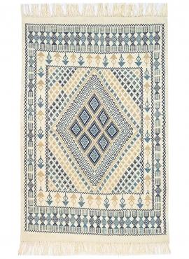 Tapis berbère Tapis Margoum Mouja 129x196 cm Bleu/Blanc (Fait main, Laine, Tunisie) Tapis margoum tunisien de la ville de Kairou