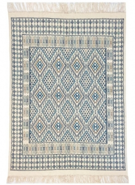 Berber tapijt Tapijt Margoum Louz 171x252 Wit/Blauw (Handgeweven, Wol, Tunesië) Tunesisch Margoum Tapijt uit de stad Kairouan. R