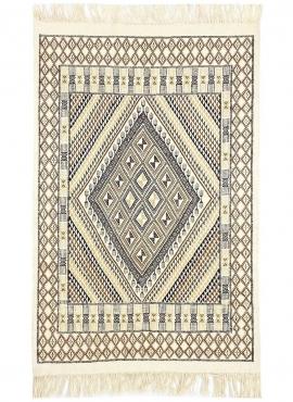 tappeto berbero Tappeto Margoum Homssi 124x204 Bianco/Marrone (Fatto a mano, Lana, Tunisia) Tappeto margoum tunisino della città