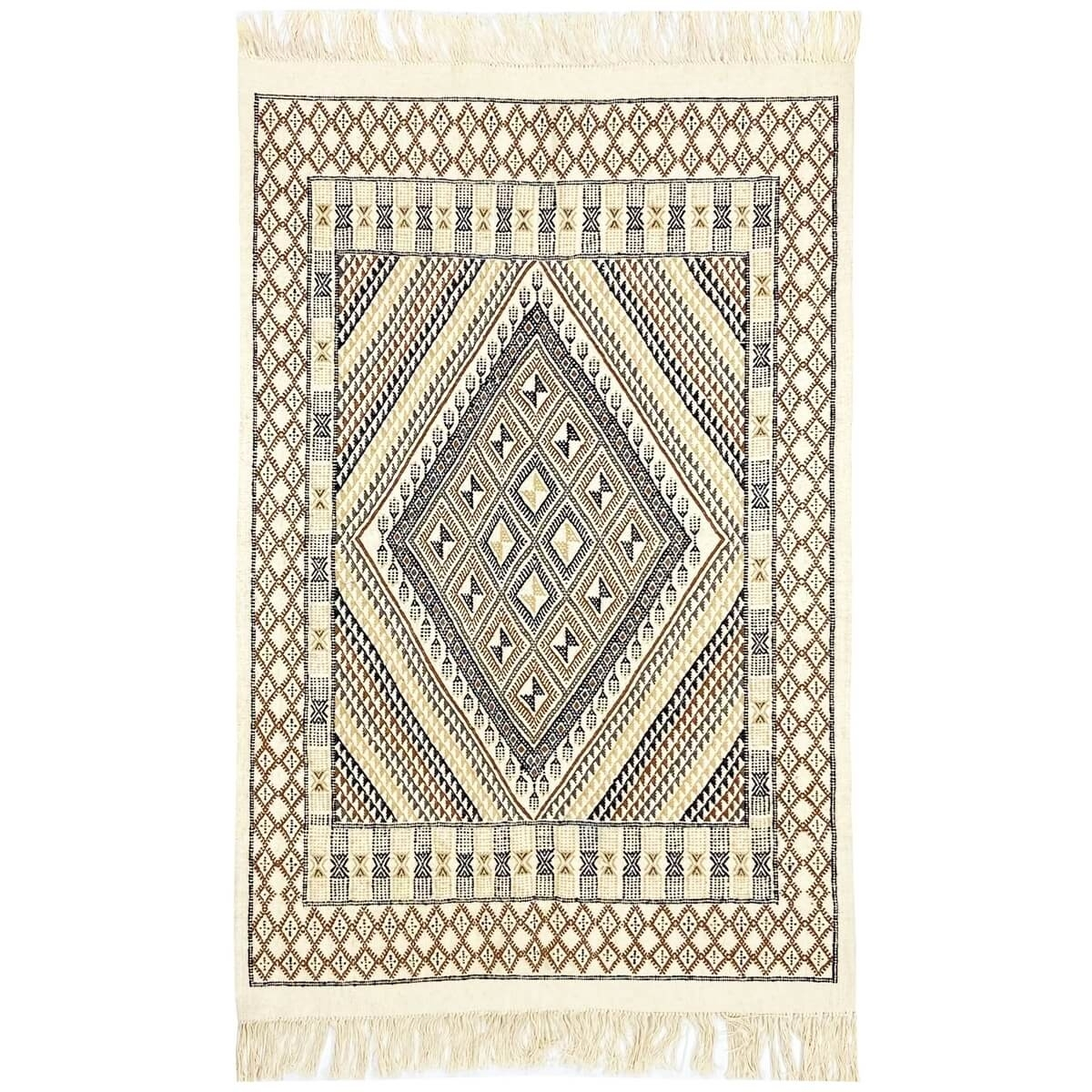 Berber carpet Rug Margoum Homssi 124x204 White/Brown (Handmade, Wool, Tunisia) Tunisian margoum rug from the city of Kairouan. R