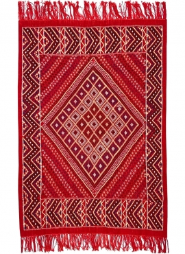 Berber carpet Rug Margoum Azid 128x200 Red (Handmade, Wool) Tunisian margoum rug from the city of Kairouan. Rectangular living r