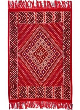 Tapete berbere Tapete Margoum Azid 128x200 Vermelho (Artesanal, Lã) Tapete Margoum tunisino da cidade de Kairouan. Tapete retang