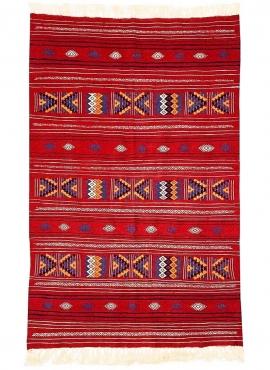 Berber Teppich Teppich Kelim Melkhail 112x176 cm Rot/Mehrfarben (Handgewebt, Wolle) Tunesischer Kelim-Teppich im marokkanischen