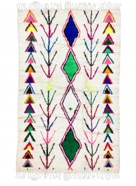 tappeto berbero Tappeto Azilal Uba 148x232 cm Bianco/Multicolore (Fatto a mano, Lana, Marocco) Tappeto margoum tunisino della ci
