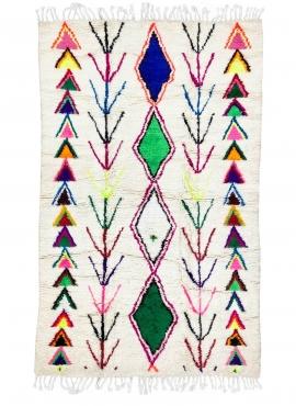 Berber tapijt Vloerkleed Azilal Uba 148x232 cm Wit/Veelkleurig (Handgeweven, Wol, Marokko) Tunesisch Margoum Tapijt uit de stad