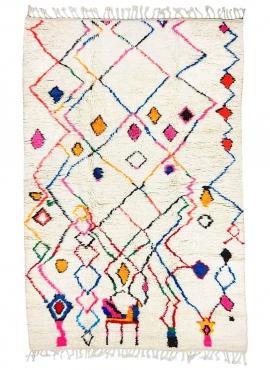 Berber Teppich Teppich Azilal Yemasten 170x290 cm Weiß/Mehrfarbig  (Handgefertigt, Wolle, Marokko) Tunesischer Margoum-Teppich a
