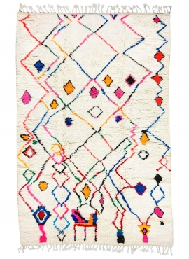 Berber tapijt Vloerkleed Azilal Yemasten 170x290 cm Wit/Veelkleurig (Handgeweven, Wol, Marokko) Tunesisch Margoum Tapijt uit de
