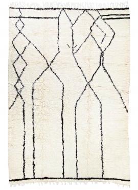 tappeto berbero Tappeto Beni Ouarain Ahabag 200x300 cm Bianco e Nero (Fatto a mano, Lana, Marocco) Tappeto margoum tunisino dell