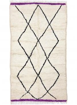 Berber tapijt Vloerkleed Beni Ouarain Ranoa 145x230 cm Wit en Zwart (Handgeweven, Wol, Marokko) Tunesisch Margoum Tapijt uit de