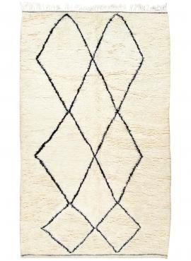 tappeto berbero Tappeto Beni Ouarain Kenwa 150x260 cm Bianco e Nero (Fatto a mano, Lana, Marocco) Tappeto margoum tunisino della