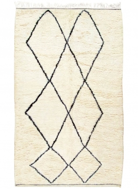 Berber tapijt Vloerkleed Beni Ouarain Kenwa 150x260 cm Wit en Zwart (Handgeweven, Wol, Marokko) Tunesisch Margoum Tapijt uit de