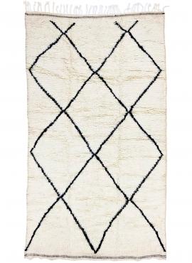 Berber Teppich Teppich Beni Ouarain Laha 145x255 cm Weiß und Schwarz (Handgefertigt, Wolle, Marokko) Tunesischer Margoum-Teppich
