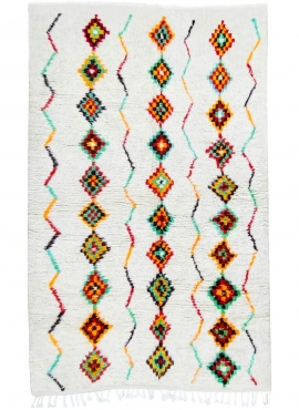Berber carpet Rug Azilal Azwaw 160x255 White/Multicolored (Handmade, Wool, Morocco) Tunisian margoum rug from the city of Kairou