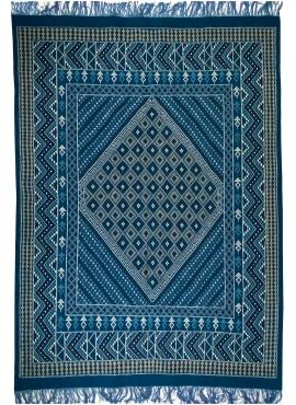 tappeto berbero Tappeto Margoum Syphax 200x300 cm Blu/Bianco (Fatto a mano, Lana, Tunisia) Tappeto margoum tunisino della città
