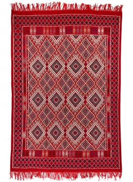 Berber carpet Rug Margoum Badis 170x260 cm Red (Handmade, Wool) Tunisian margoum rug from the city of Kairouan. Rectangular livi