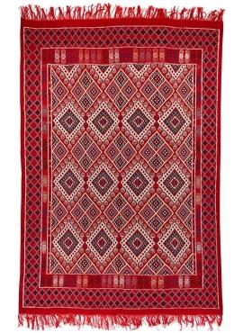Tapis berbère Tapis Margoum Badis 170x260 cm Rouge (Fait main, Laine) Tapis margoum tunisien de la ville de Kairouan. Tapis de s