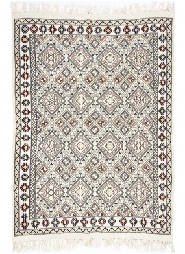 Berber carpet Rug Margoum Krish 170x240 cm White/Beige (Handmade, Wool, Tunisia) Tunisian margoum rug from the city of Kairouan.