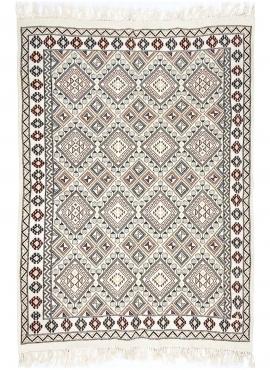 Tapete berbere Tapete Margoum Krish 170x240 cm Branco/Bege (Artesanal, Lã, Tunísia) Tapete Margoum tunisino da cidade de Kairoua