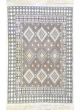 Tapis berbère Tapis Margoum Salsabile 176x256 Blanc/Beige (Fait main, Laine, Tunisie) Tapis margoum tunisien de la ville de Kair