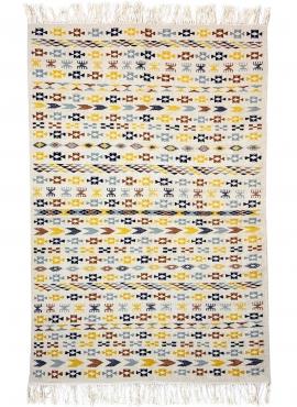 Berber tapijt Vloerkleed Kilim 125x190 cm Wit Geel Blauw Bruin | Handgeweven, Wol, Tunesië Tunesisch kilimdeken, Marokkaanse sti