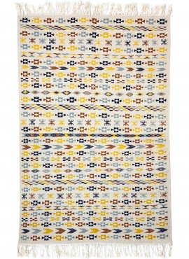 tappeto berbero Tappeto Kilim 125x190 cm Bianco Giallo Blu Marrone | Fatto a mano, Lana, Tunisia Tappeto kilim tunisino, in stil