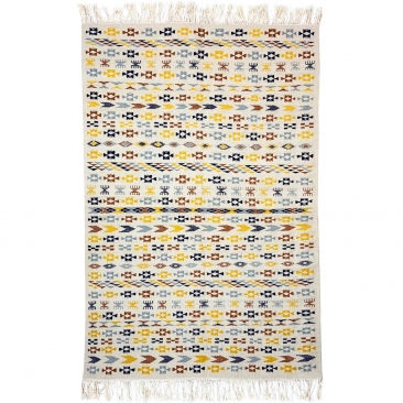 Tapete berbere Tapete Kilim 125x190 cm Branco Amarelo Azul Marrom | Tecidos à mão, Lã, Tunísia Tapete tunisiano kilim, estilo ma
