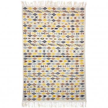 Berber Teppich Teppich Kelim 125x190 cm Weiß Gelb Blau Braun | Handgewebt, Wolle, Tunesien Tunesischer Kelim-Teppich im marokkan