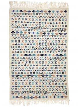 Tapis berbère Tapis Kilim 135x205 cm Blanc Bleu Marron | Tissé main, Laine, Tunisie Tapis kilim tunisien style tapis marocain. T