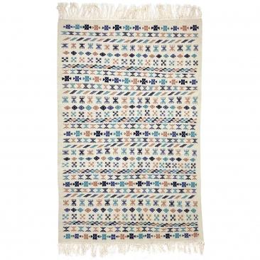 Berber Teppich Teppich Kelim 135x205 cm Weiß Blau Braun | Handgewebt, Wolle, Tunesien Tunesischer Kelim-Teppich im marokkanische
