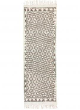 Berber tapijt Vloerkleed Margoum 95x275 cm Wit/Bruin | Handgeweven, Wol, Tunesië Tunesisch Margoum Tapijt uit de stad Kairouan.