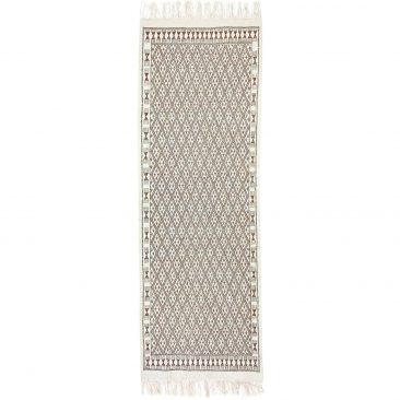Berber carpet Rug Margoum 95x275 cm White/Brown | Handmade, Wool, Tunisia) Tunisian margoum rug from the city of Kairouan. Recta