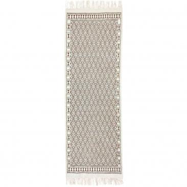 Tapis berbère Tapis Margoum 95x275 cm Blanc/Marron | Fait main, Laine, Tunisie Tapis margoum tunisien de la ville de Kairouan. T