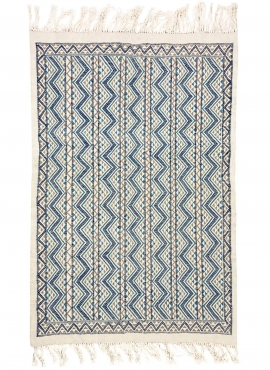Berber carpet Rug Margoum 120x190 Blue/White | Handmade, Wool, Tunisia Tunisian margoum rug from the city of Kairouan. Rectangul