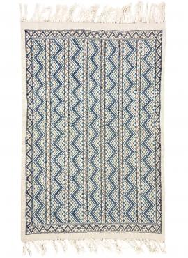 tappeto berbero Tappeto Margoum 120x190 Blu/Bianco |Fatto a mano, Lana, Tunisia Tappeto margoum tunisino della città di Kairouan