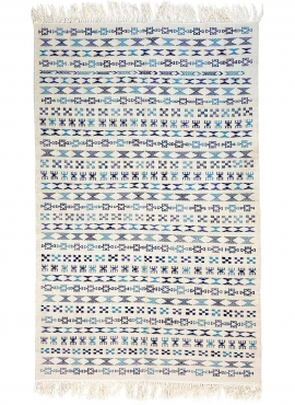 Tapis berbère Tapis Kilim 135x205 cm Blanc Bleu | Tissé main, Laine, Tunisie Tapis kilim tunisien style tapis marocain. Tapis re