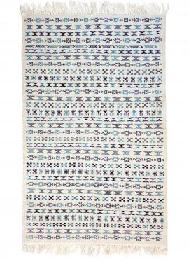 Berber Teppich Teppich Kelim 135x205 cm Weiß Blau| Handgewebt, Wolle, Tunesien Tunesischer Kelim-Teppich im marokkanischen Stil.