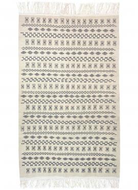 Berber carpet Rug Kilim Douja 121x200 White Yellow Gray (Handmade, Wool, Tunisia) Tunisian Rug Kilim style Moroccan rug. Rectang