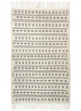 Berber tapijt Vloerkleed Kilim 120x200 cm Wit Grijs | Handgeweven, Wol, Tunesië Tunesisch kilimdeken, Marokkaanse stijl. Rechtho