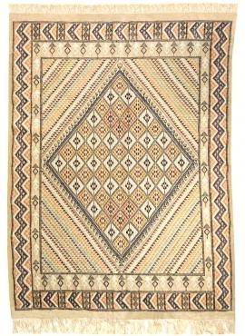 Berber carpet Large Rug Margoum Gezzal 157x257 Beige (Handmade, Wool, Tunisia) Tunisian margoum rug from the city of Kairouan. R
