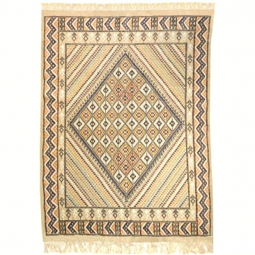 Berber tapijt Groot Tapijt Margoum Gezzal 157x257 Beige (Handgeweven, Wol, Tunesië) Tunesisch Margoum Tapijt uit de stad Kairoua