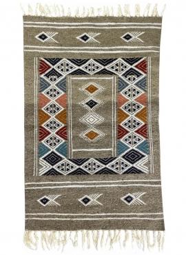 Berber carpet Rug Kilim Hekku 60x98 Grey (Handmade, Wool, Tunisia) Tunisian Rug Kilim style Moroccan rug. Rectangular carpet 100