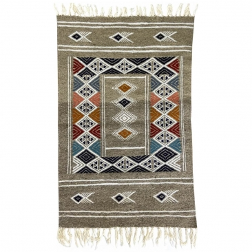 tappeto berbero Tappeto Kilim Hekku 60x98 Grigio (Fatto a mano, Lana, Tunisia) Tappeto kilim tunisino, in stile marocchino. Tapp