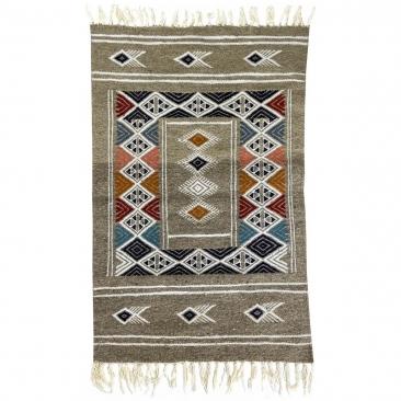 Berber Teppich Teppich Kelim Hekku 60x98  Grau (Handgewebt, Wolle, Tunesien) Tunesischer Kelim-Teppich im marokkanischen Stil. R