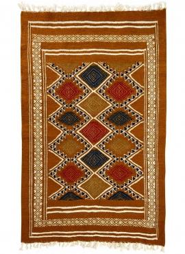 Tapis berbère Tapis Kilim Farran 60x98 Jaune ocre (Tissé main, Laine, Tunisie) Tapis kilim tunisien style tapis marocain. Tapis