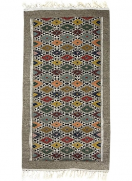 Alfombra bereber Alfombra Kilim Edewi 60x111 Gris (Hecho a mano, Lana, Túnez) Alfombra kilim tunecina, estilo marroquí. Alfombra